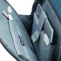 Monipuolinen sisäinen kuvakkein varustettu järjestelijä, etutaskussa RFID-suojattu pussi.